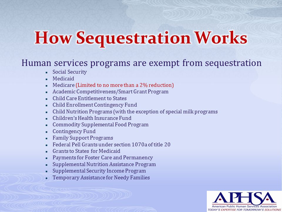 Human services programs are exempt from sequestration Social Security Medicaid Medicare (Limited to no more than a 2% reduction) Academic Competitiveness/Smart Grant Program Child Care Entitlement to States Child Enrollment Contingency Fund Child Nutrition Programs (with the exception of special milk programs Children's Health Insurance Fund Commodity Supplemental Food Program Contingency Fund Family Support Programs Federal Pell Grants under section 1070a of title 20 Grants to States for Medicaid Payments for Foster Care and Permanency Supplemental Nutrition Assistance Program Supplemental Security Income Program Temporary Assistance for Needy Families