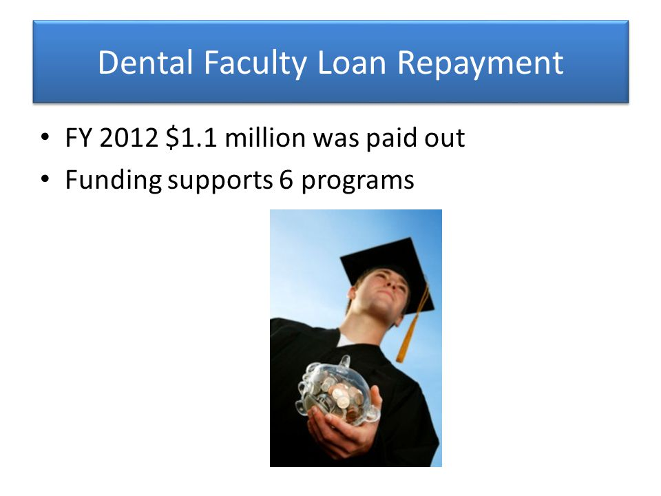 Dental Faculty Loan Repayment FY 2012 $1.1 million was paid out Funding supports 6 programs