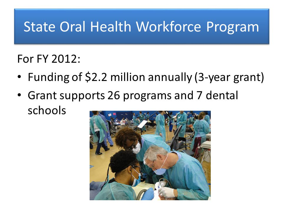 State Oral Health Workforce Program For FY 2012: Funding of $2.2 million annually (3-year grant) Grant supports 26 programs and 7 dental schools