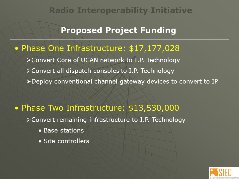 Radio Interoperability Initiative Proposed Project Funding Phase One Infrastructure: $17,177,028  Convert Core of UCAN network to I.P.
