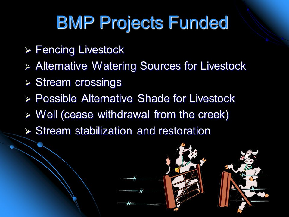 BMP Projects Funded  Fencing Livestock  Alternative Watering Sources for Livestock  Stream crossings  Possible Alternative Shade for Livestock  Well (cease withdrawal from the creek)  Stream stabilization and restoration