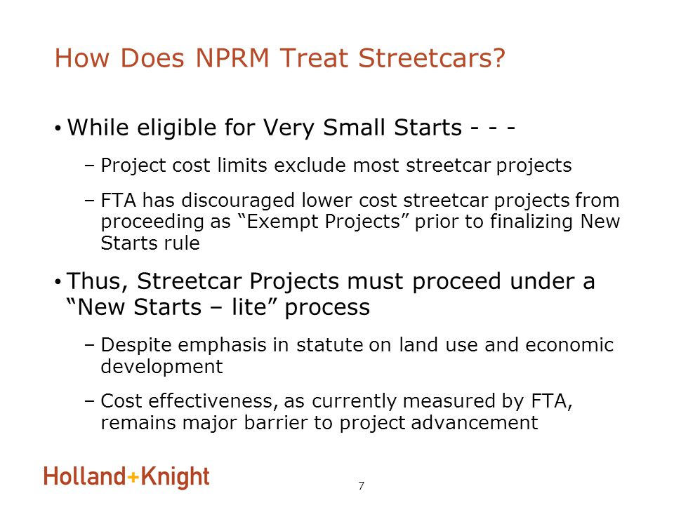 7 How Does NPRM Treat Streetcars.