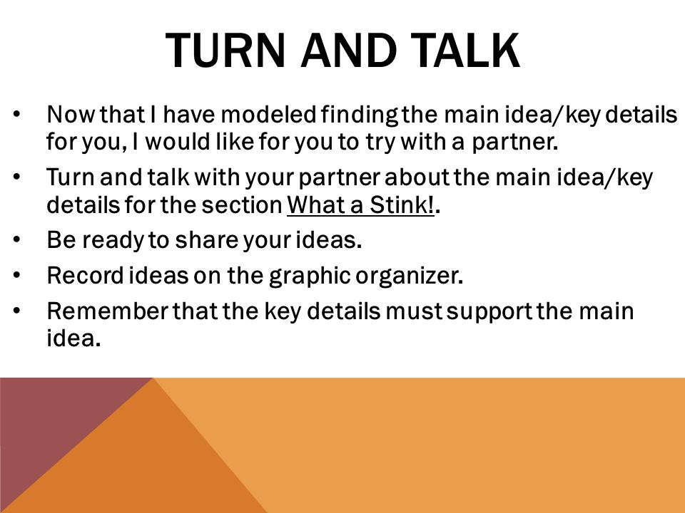 TURN AND TALK Now that I have modeled finding the main idea/key details for you, I would like for you to try with a partner.