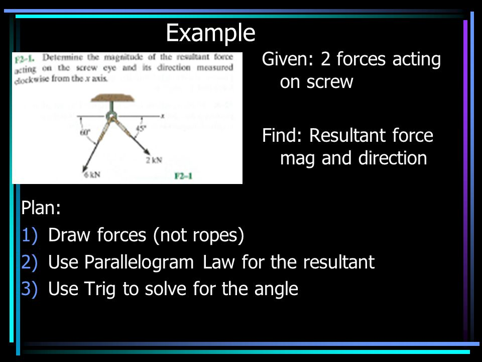 Example Given: 2 forces acting on screw Find: Resultant force mag and direction Plan: 1)Draw forces (not ropes) 2)Use Parallelogram Law for the resultant 3)Use Trig to solve for the angle Example