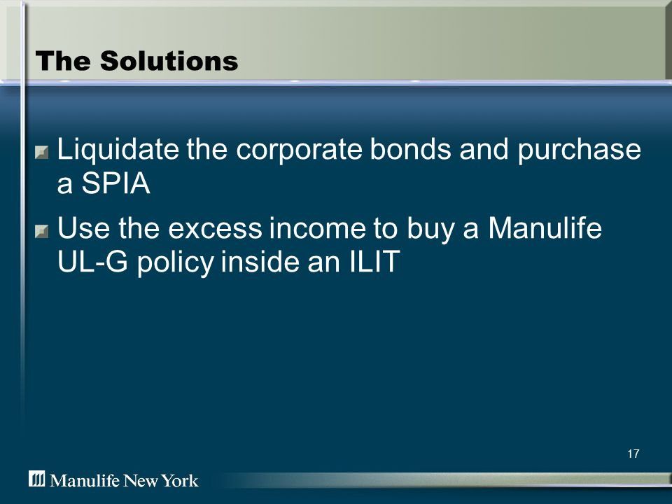 17 The Solutions Liquidate the corporate bonds and purchase a SPIA Use the excess income to buy a Manulife UL-G policy inside an ILIT
