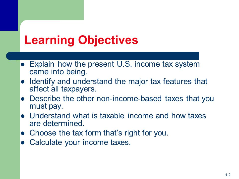4-2 Learning Objectives Explain how the present U.S.