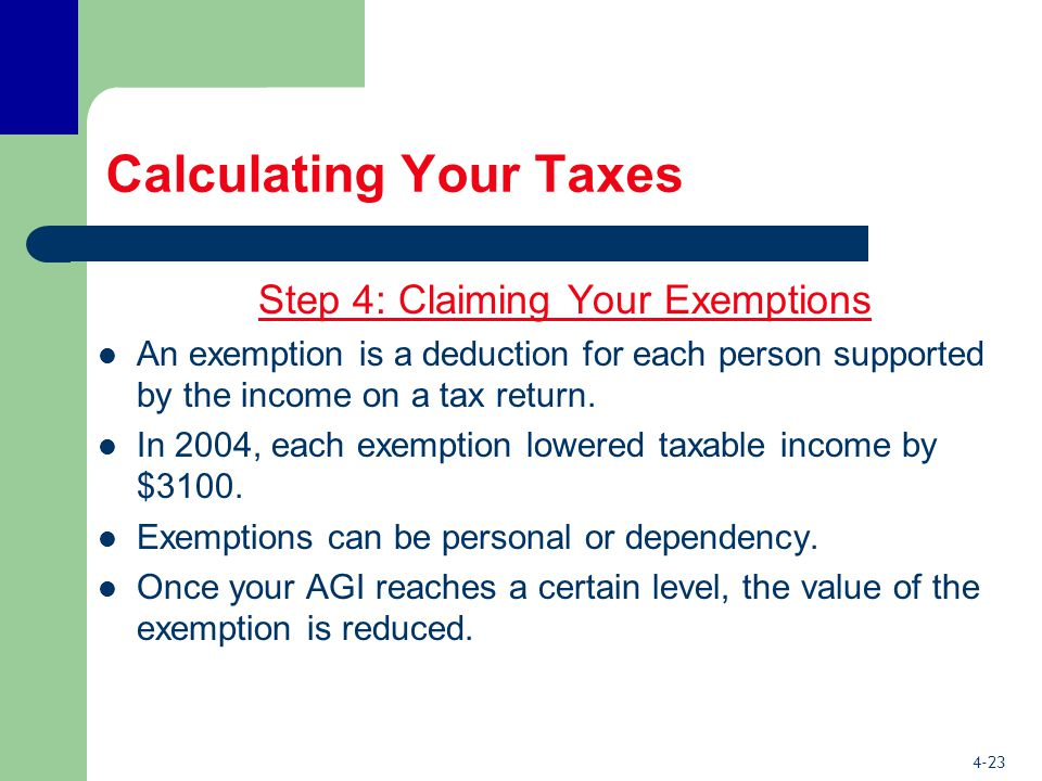 4-23 Calculating Your Taxes Step 4: Claiming Your Exemptions An exemption is a deduction for each person supported by the income on a tax return.