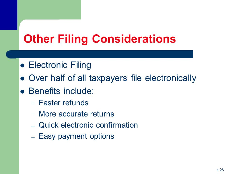 4-28 Other Filing Considerations Electronic Filing Over half of all taxpayers file electronically Benefits include: – Faster refunds – More accurate returns – Quick electronic confirmation – Easy payment options