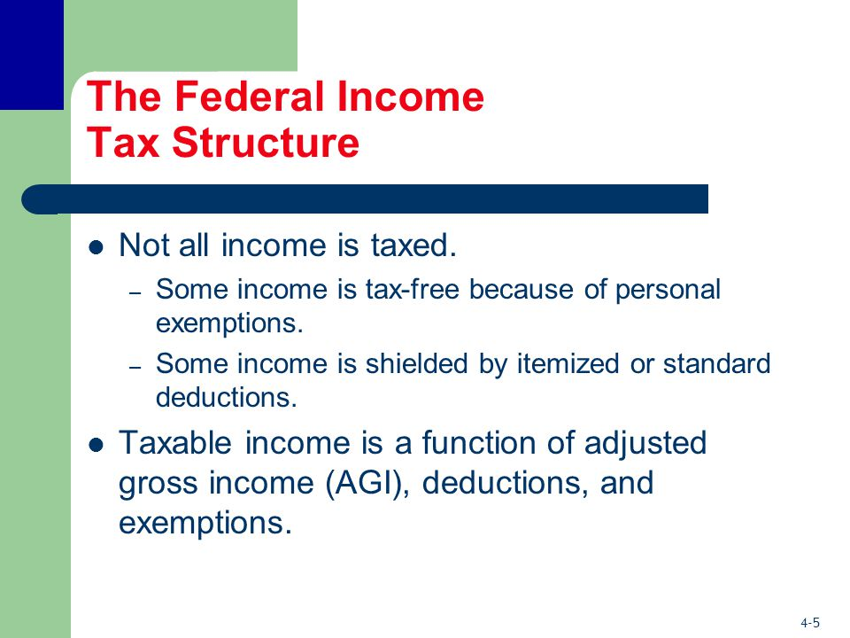 4-5 The Federal Income Tax Structure Not all income is taxed.