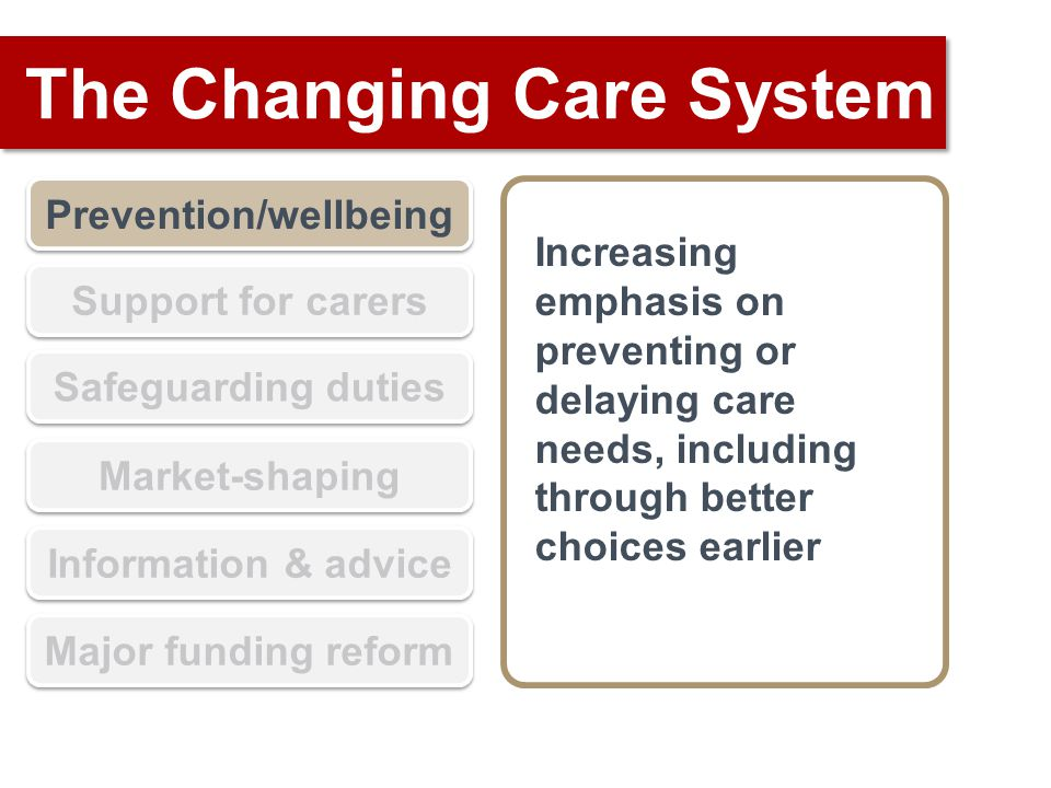 The Changing Care System Prevention/wellbeing Support for carers Safeguarding duties Market-shaping Information & advice Major funding reform Increasing emphasis on preventing or delaying care needs, including through better choices earlier