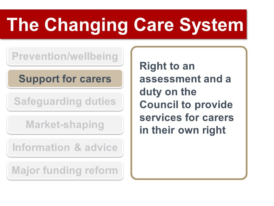 The Changing Care System Prevention/wellbeing Support for carers Safeguarding duties Market-shaping Information & advice Major funding reform Right to an assessment and a duty on the Council to provide services for carers in their own right