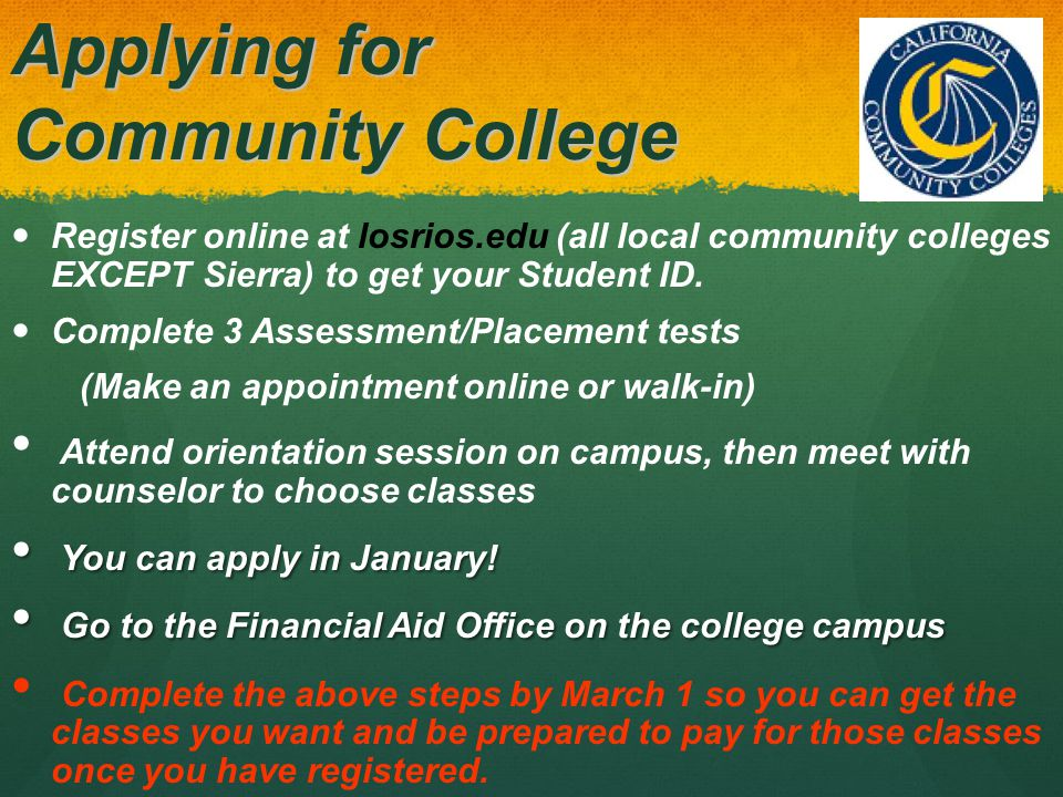 Community Colleges Transfer Transfer Talk to college counselor once per semester Talk to college counselor once per semester Complete required course work Complete required course work Earn a certain college GPA Earn a certain college GPA 60 units of college level work 60 units of college level work There are Community Colleges across the U.S.