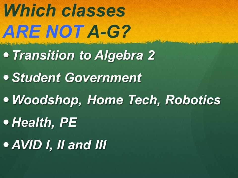 Which classes are A-G.