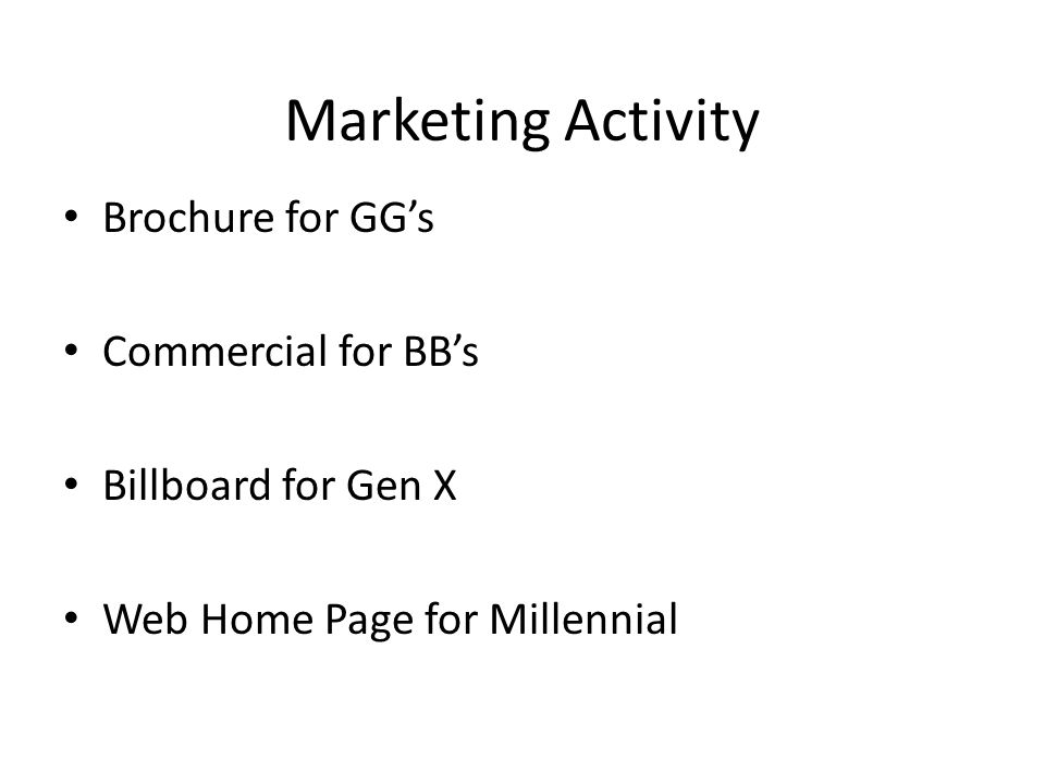 Marketing Activity Brochure for GG's Commercial for BB's Billboard for Gen X Web Home Page for Millennial