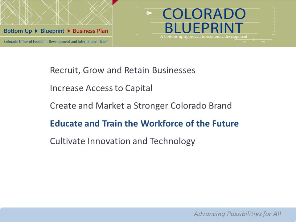 Advancing Possibilities for All Advanced Manufacturing Recruit, Grow and Retain Businesses Increase Access to Capital Create and Market a Stronger Colorado Brand Educate and Train the Workforce of the Future Cultivate Innovation and Technology