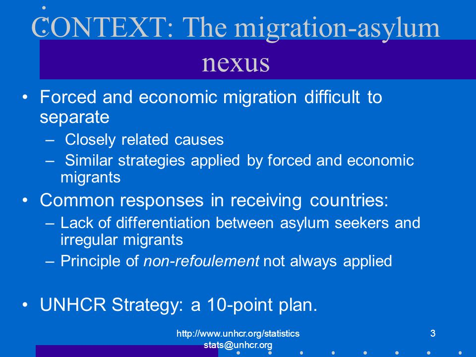 3 CONTEXT: The migration-asylum nexus Forced and economic migration difficult to separate – Closely related causes – Similar strategies applied by forced and economic migrants Common responses in receiving countries: –Lack of differentiation between asylum seekers and irregular migrants –Principle of non-refoulement not always applied UNHCR Strategy: a 10-point plan.