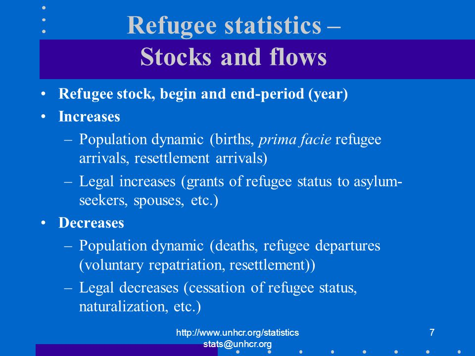 7 Refugee statistics – Stocks and flows Refugee stock, begin and end-period (year) Increases –Population dynamic (births, prima facie refugee arrivals, resettlement arrivals) –Legal increases (grants of refugee status to asylum- seekers, spouses, etc.) Decreases –Population dynamic (deaths, refugee departures (voluntary repatriation, resettlement)) –Legal decreases (cessation of refugee status, naturalization, etc.)