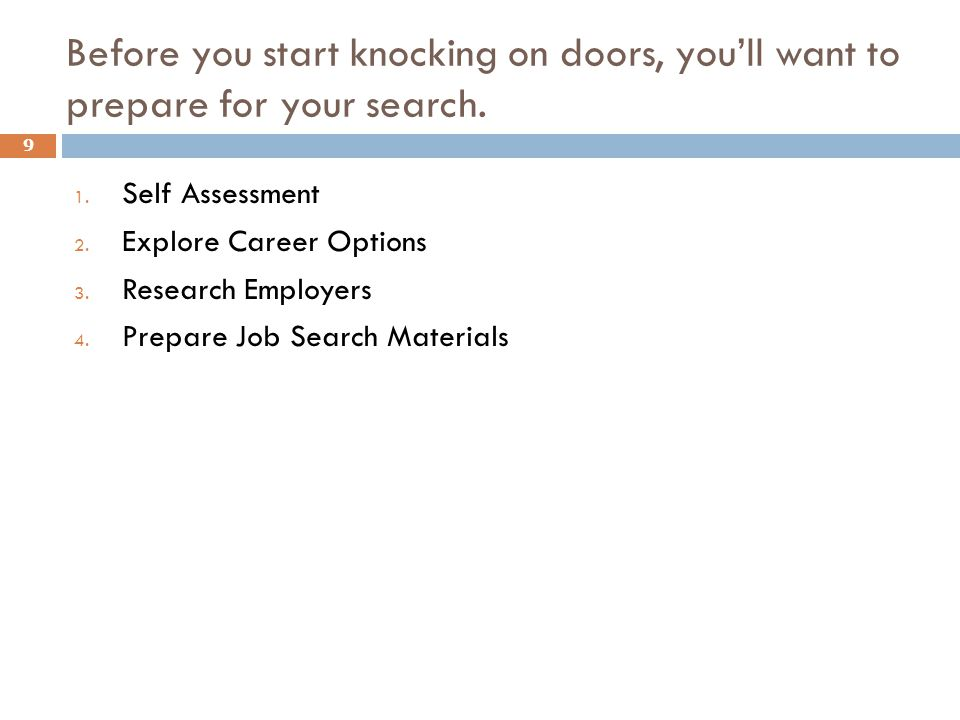 Before you start knocking on doors, you'll want to prepare for your search.