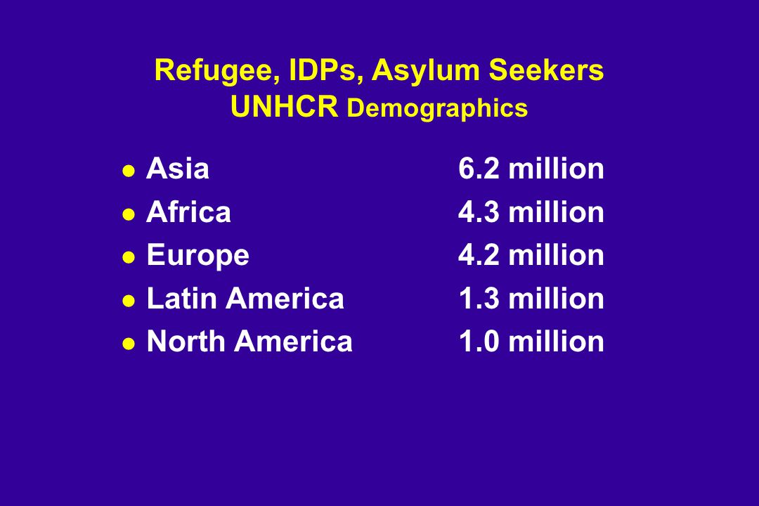 Refugee, IDPs, Asylum Seekers UNHCR Demographics l Asia 6.2 million l Africa 4.3 million l Europe 4.2 million l Latin America 1.3 million l North America1.0 million