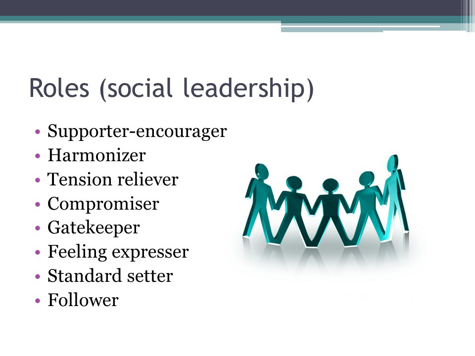 Roles (social leadership) Supporter-encourager Harmonizer Tension reliever Compromiser Gatekeeper Feeling expresser Standard setter Follower