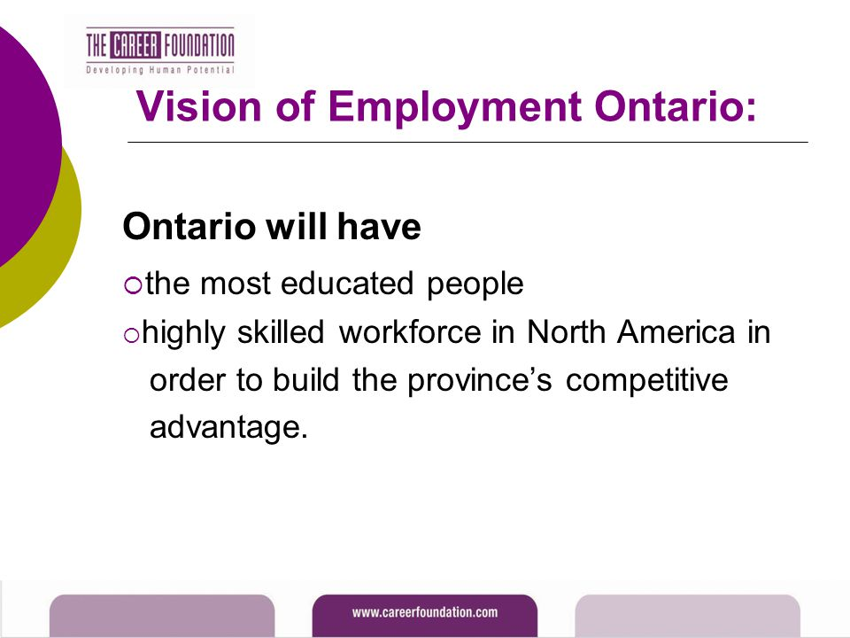 Vision of Employment Ontario: Ontario will have  the most educated people  highly skilled workforce in North America in order to build the province's competitive advantage.