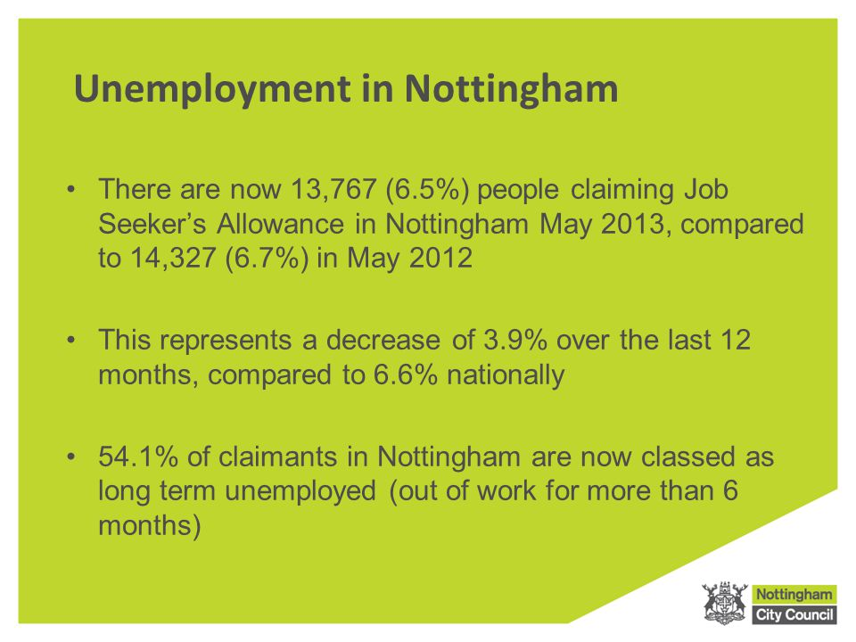 Unemployment in Nottingham There are now 13,767 (6.5%) people claiming Job Seeker's Allowance in Nottingham May 2013, compared to 14,327 (6.7%) in May 2012 This represents a decrease of 3.9% over the last 12 months, compared to 6.6% nationally 54.1% of claimants in Nottingham are now classed as long term unemployed (out of work for more than 6 months)
