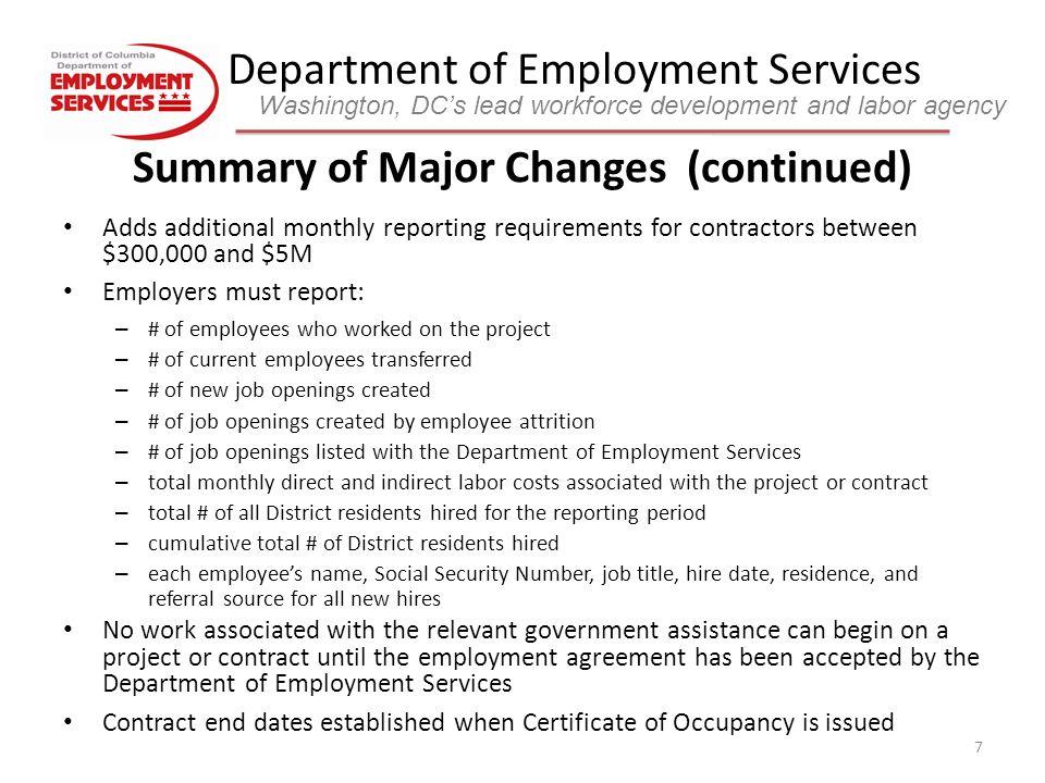 Department Of Employment Services Washington Dcs Lead Workforce