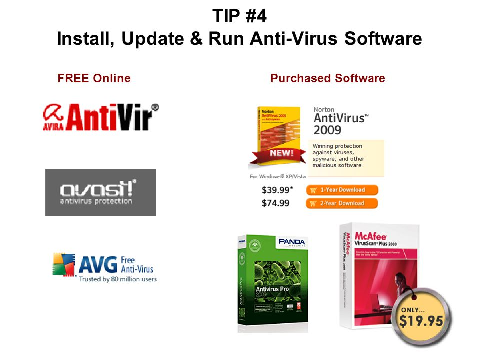 TIP #4 Install, Update & Run Anti-Virus Software FREE OnlinePurchased Software