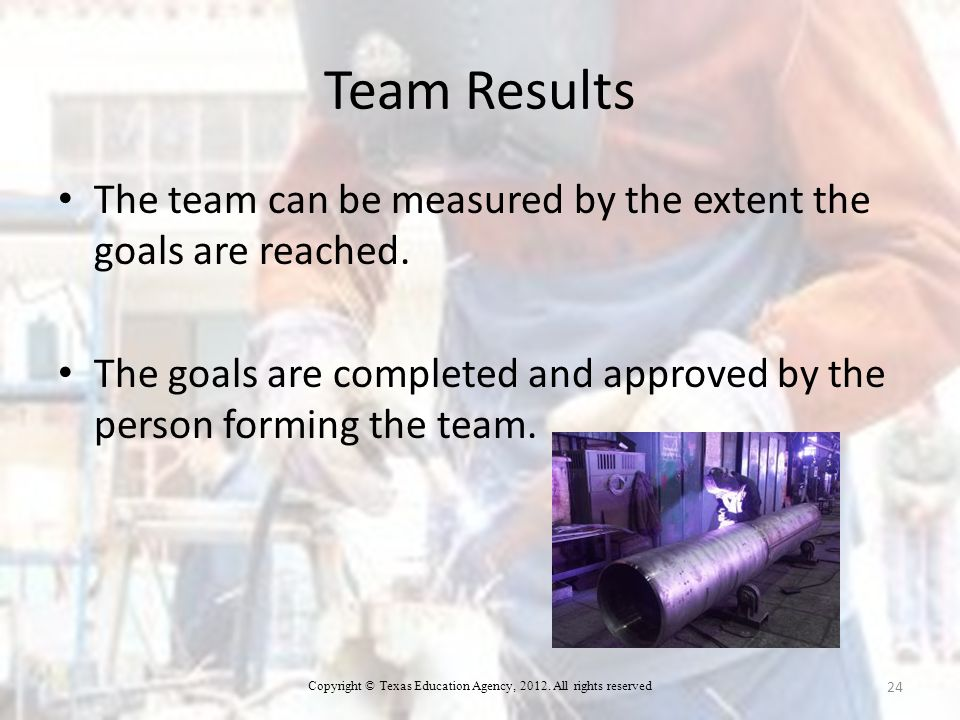Team Results The team can be measured by the extent the goals are reached.