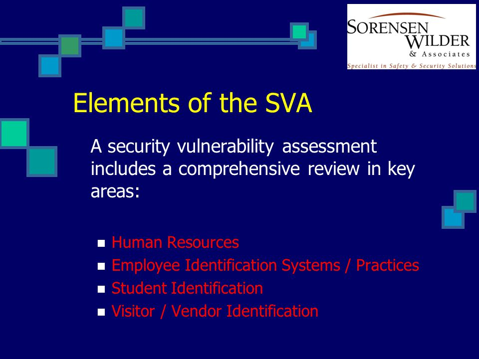 Elements of the SVA A security vulnerability assessment includes a comprehensive review in key areas: Human Resources Employee Identification Systems / Practices Student Identification Visitor / Vendor Identification