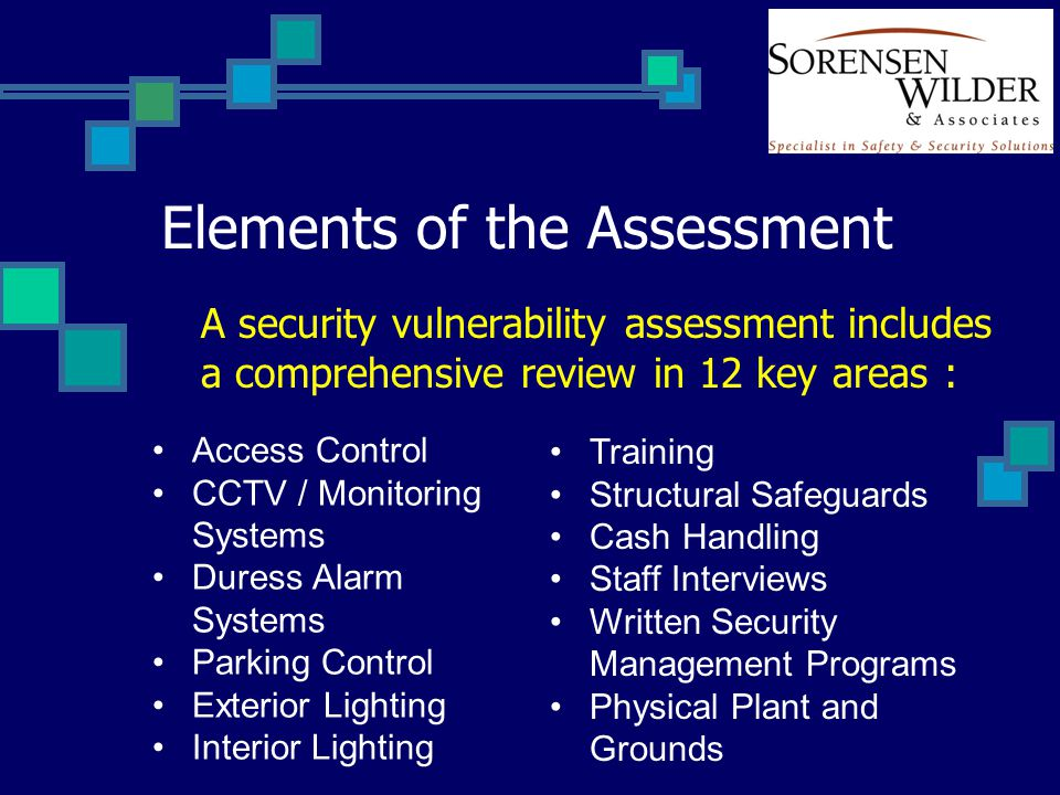 Elements of the Assessment A security vulnerability assessment includes a comprehensive review in 12 key areas : Access Control CCTV / Monitoring Systems Duress Alarm Systems Parking Control Exterior Lighting Interior Lighting Training Structural Safeguards Cash Handling Staff Interviews Written Security Management Programs Physical Plant and Grounds
