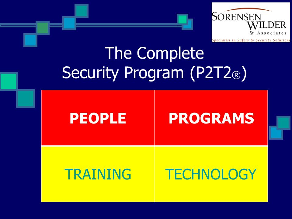 The Complete Security Program (P2T2 ® ) PEOPLEPROGRAMS TRAININGTECHNOLOGY