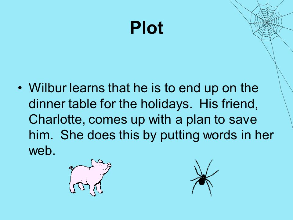 Plot Wilbur learns that he is to end up on the dinner table for the holidays.