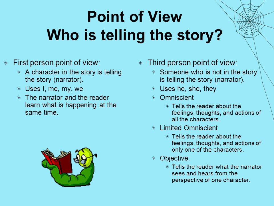 Point of View Who is telling the story.