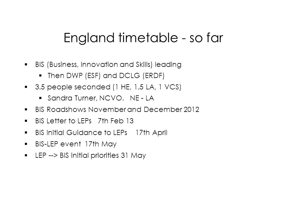 England timetable - so far  BIS (Business, Innovation and Skills) leading  Then DWP (ESF) and DCLG (ERDF)  3.5 people seconded (1 HE, 1.5 LA, 1 VCS)  Sandra Turner, NCVO.