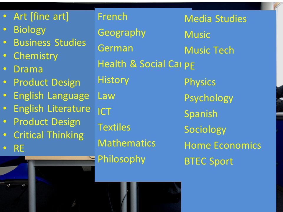 Art [fine art] Biology Business Studies Chemistry Drama Product Design English Language English Literature Product Design Critical Thinking RE French Geography German Health & Social Care History Law ICT Textiles Mathematics Philosophy Media Studies Music Music Tech PE Physics Psychology Spanish Sociology Home Economics BTEC Sport