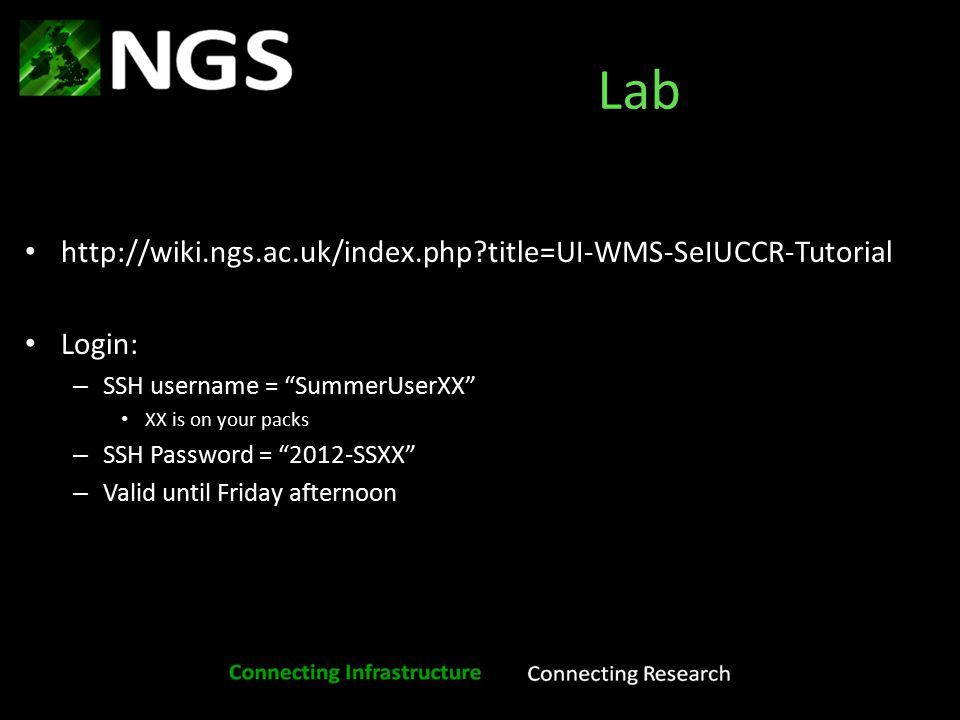 Example applications of e-Infrastructure: NGS UI/WMS