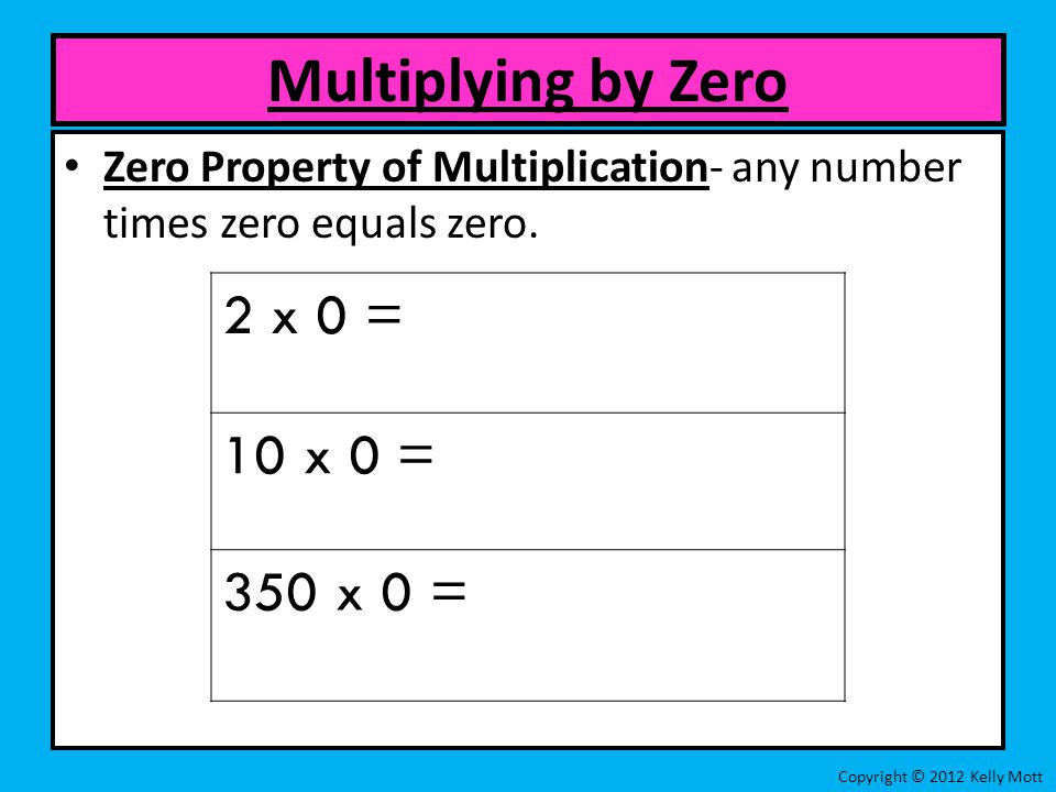 Zero Property of Multiplication- any number times zero equals zero.
