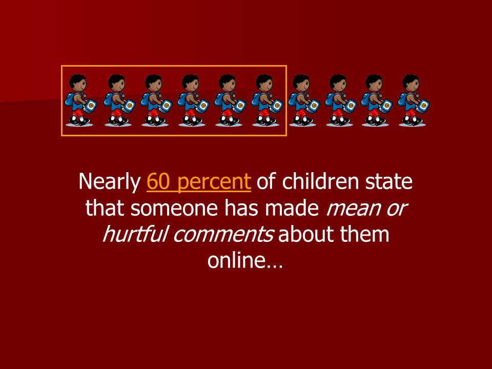 Nearly 60 percent of children state that someone has made mean or hurtful comments about them online…