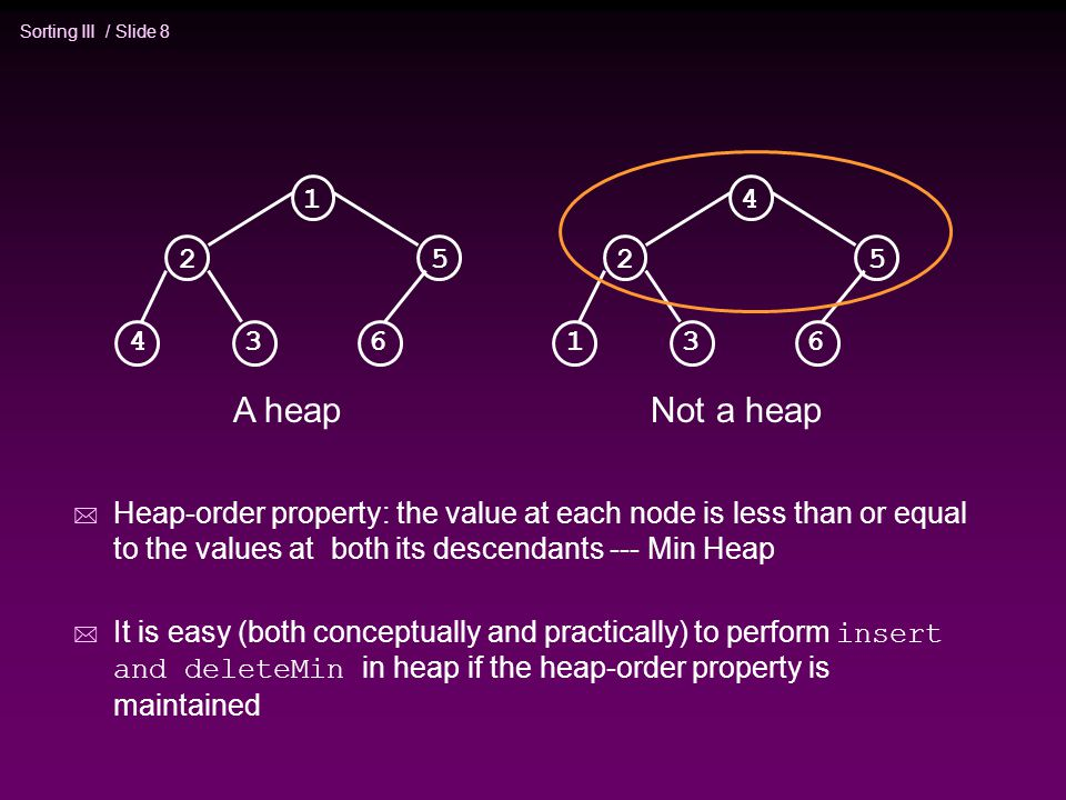 Sorting III / Slide 8 * Heap-order property: the value at each node is less than or equal to the values at both its descendants --- Min Heap  It is easy (both conceptually and practically) to perform insert and deleteMin in heap if the heap-order property is maintained A heap Not a heap