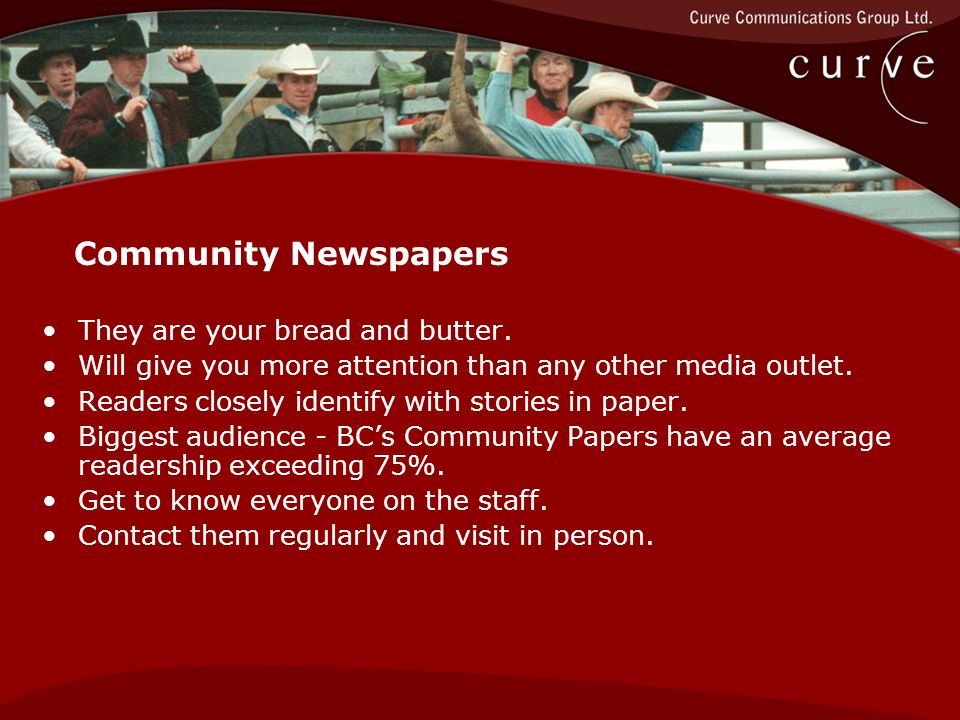 Community Newspapers They are your bread and butter.