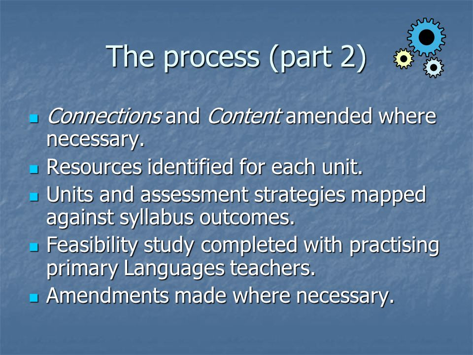 The process (part 2) Connections and Content amended where necessary.
