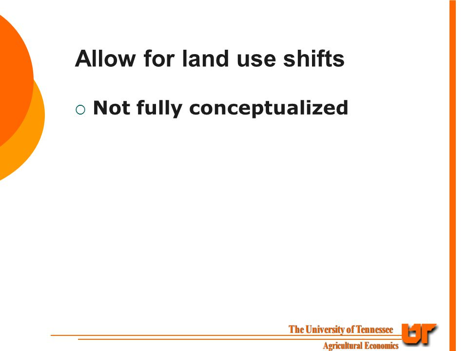 Allow for land use shifts  Not fully conceptualized