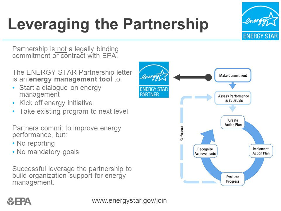Leveraging the Partnership Partnership is not a legally binding commitment or contract with EPA.