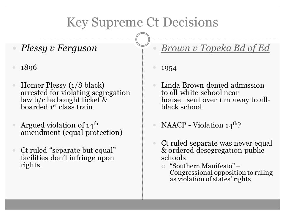 """an analysis of the 1896 case plessy versus ferguson and it implications on segregation in america Plessy paves the way for brown - on may 17, 1954, the warren court unanimously struck down the ruling of plessy v ferguson and ended both the use of """"separate but equal"""" and de jure racial segregation of blacks in america."""
