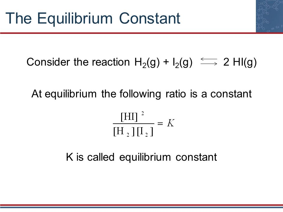 The Equilibrium Constant Consider the reaction H 2 (g) + I 2 (g) 2 HI(g) At equilibrium the following ratio is a constant K is called equilibrium constant