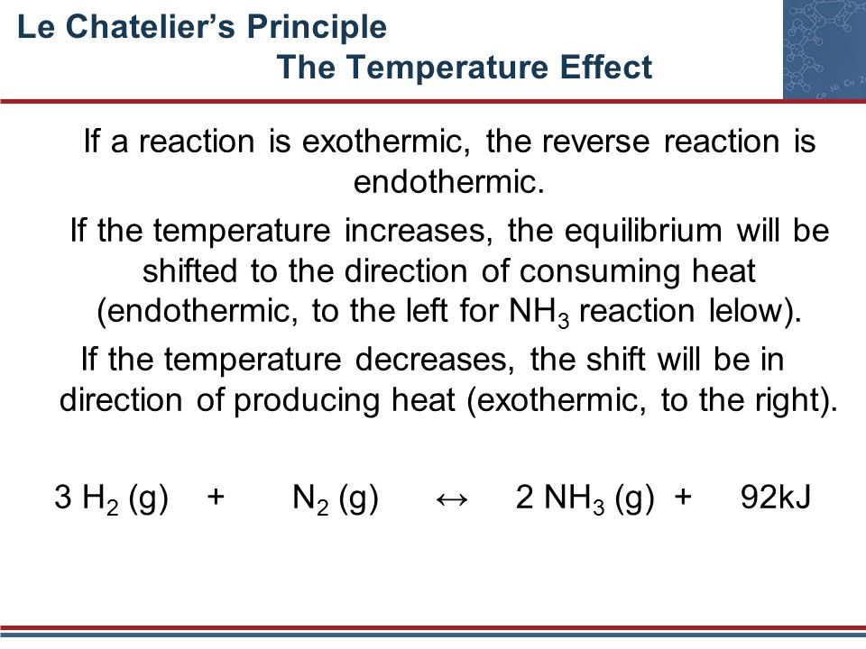 Le Chatelier's Principle The Temperature Effect If a reaction is exothermic, the reverse reaction is endothermic.