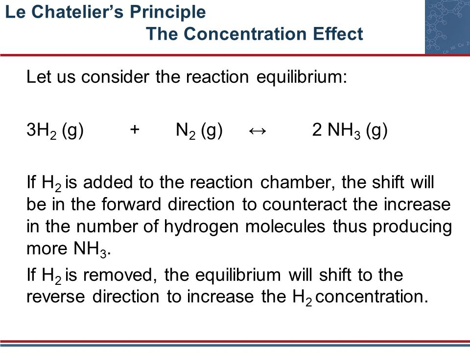 Le Chatelier's Principle The Concentration Effect Let us consider the reaction equilibrium: 3H 2 (g) + N 2 (g) ↔ 2 NH 3 (g) If H 2 is added to the reaction chamber, the shift will be in the forward direction to counteract the increase in the number of hydrogen molecules thus producing more NH 3.