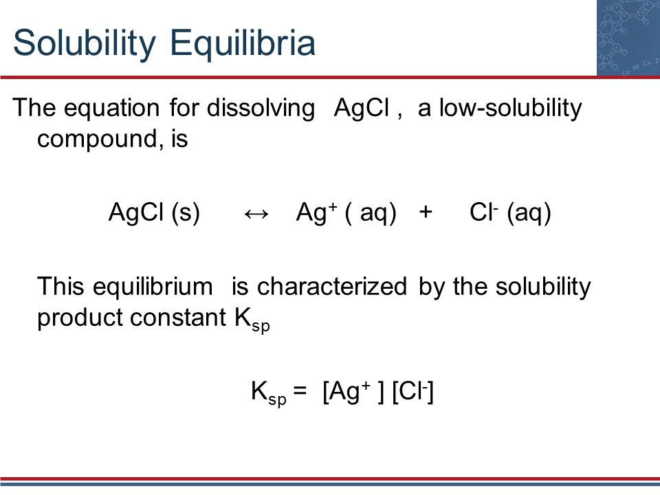 Solubility Equilibria The equation for dissolving AgCl, a low-solubility compound, is AgCl (s) ↔ Ag + ( aq) + Cl - (aq) This equilibrium is characterized by the solubility product constant K sp K sp = [Ag + ] [Cl - ]