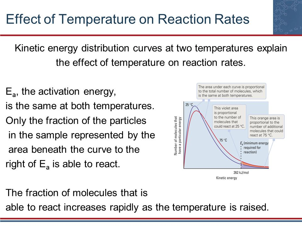 Effect of Temperature on Reaction Rates Kinetic energy distribution curves at two temperatures explain the effect of temperature on reaction rates.